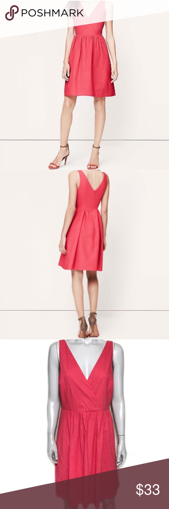ba38c7aac7b  LOFT  cotton eyelet pocket dress Light coral red colored dress with eyelet  lace texture. Faux wrap style at the bust. Lined dress is pleated at the  skirt.