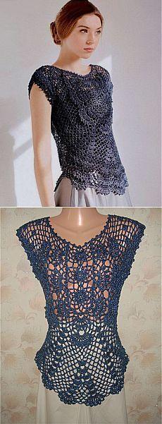 Navy Motif Lace Top free crochet graph pattern