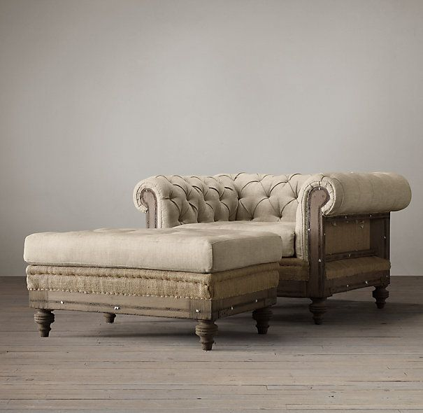 Both chair and ottoman for bedroom seating deconstructed chesterfield upholstered chair Bedroom furniture chesterfield