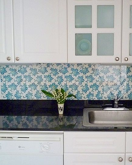 Fabric Under Plexigl Backsplash Solution For Al Kitchens