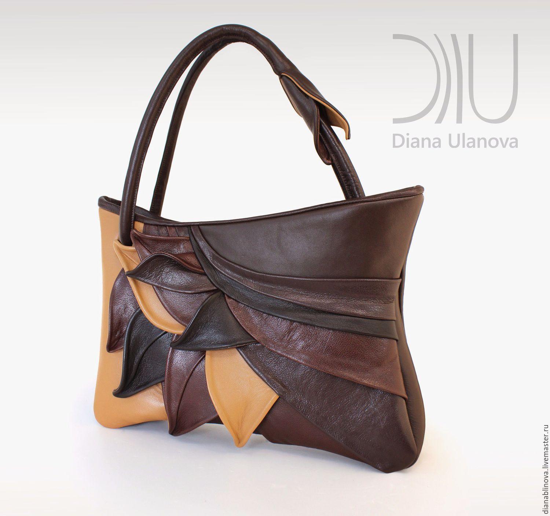 Купить Сумка кожаная Перья - комбинированный, абстрактный, бежевая сумка,  какао, молочный шоколад ca8e55682de