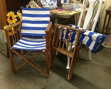 Pair of Blue and Oak St. Tropez Beach Chairs   Dealer #1028  $98  Lucas Street Antiques Mall 2023 Lucas Dr.  Dallas, TX 75219  Like us on Facebook: https://www.facebook.com/lucasstreetantiqu