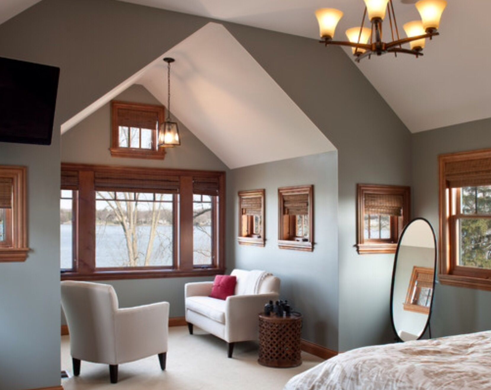 Grey can work with wood trim. :) | Remodel bedroom, Living ...