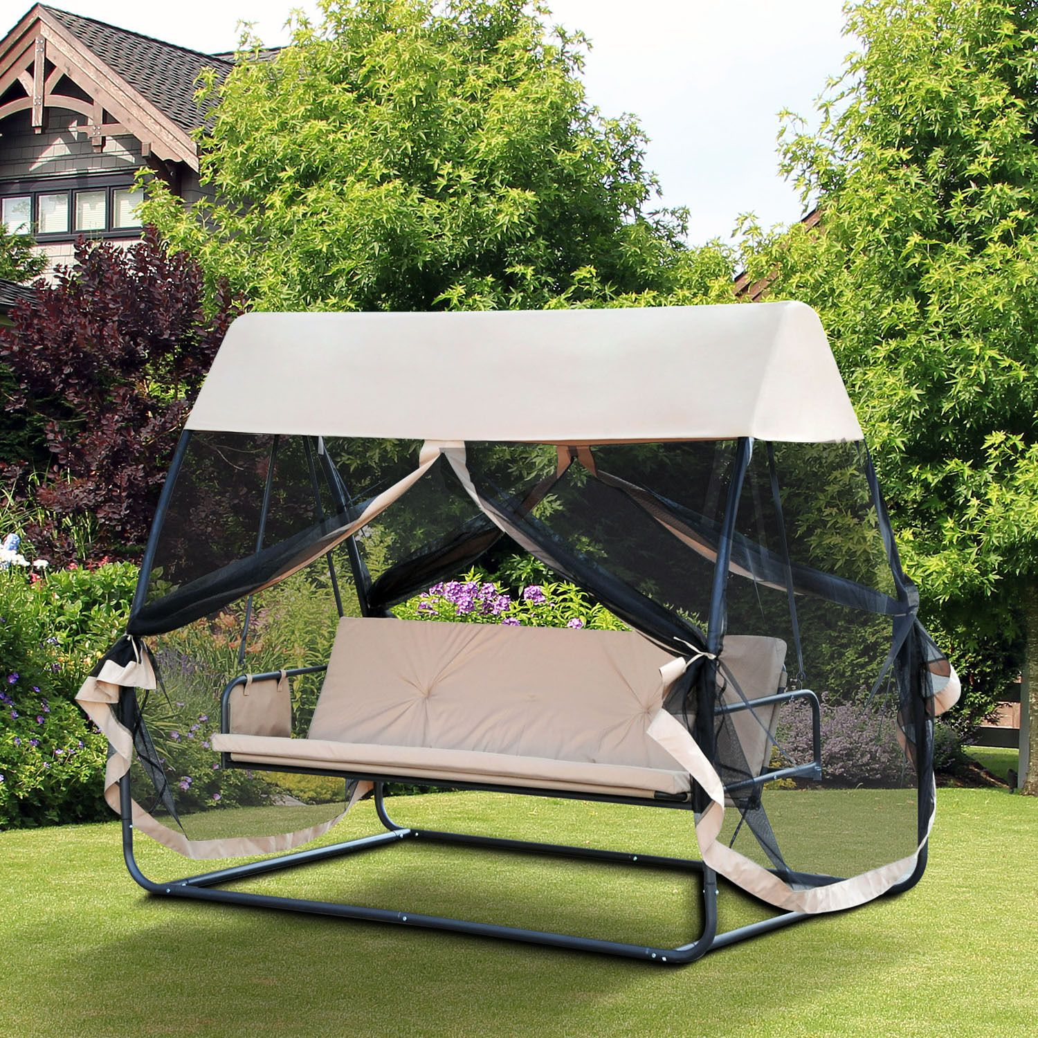 Patio Swing Hammock Outdoor Furniture Convertible Bench Chair Bed W Canopy Mesh Canopy Outdoor Canopy Bedroom Patio Swing