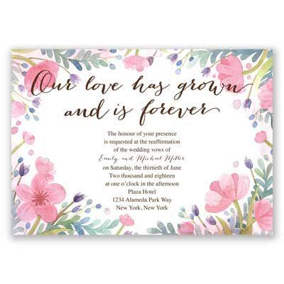 love grows vow renewal invitation - Wedding Renewal Invitations