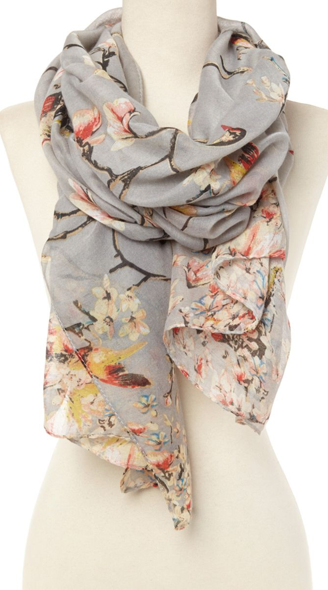 1bb6ece791f0a Grey floral scarf. If this had a couple chickadees on it, I would lose my  mind. I don't actually own a scarf.