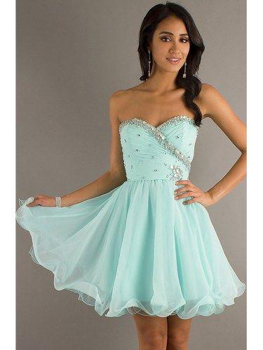 Sweet Light Sky Blue Sweetheart Mini Prom Dress | owdress - Clothing on ArtFire