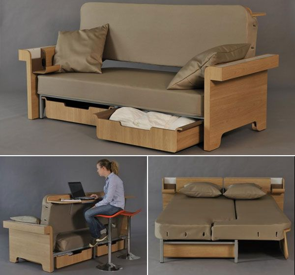 Transforming Sofa Converts Into Dining Table And Bed For Two - Table converts to bed