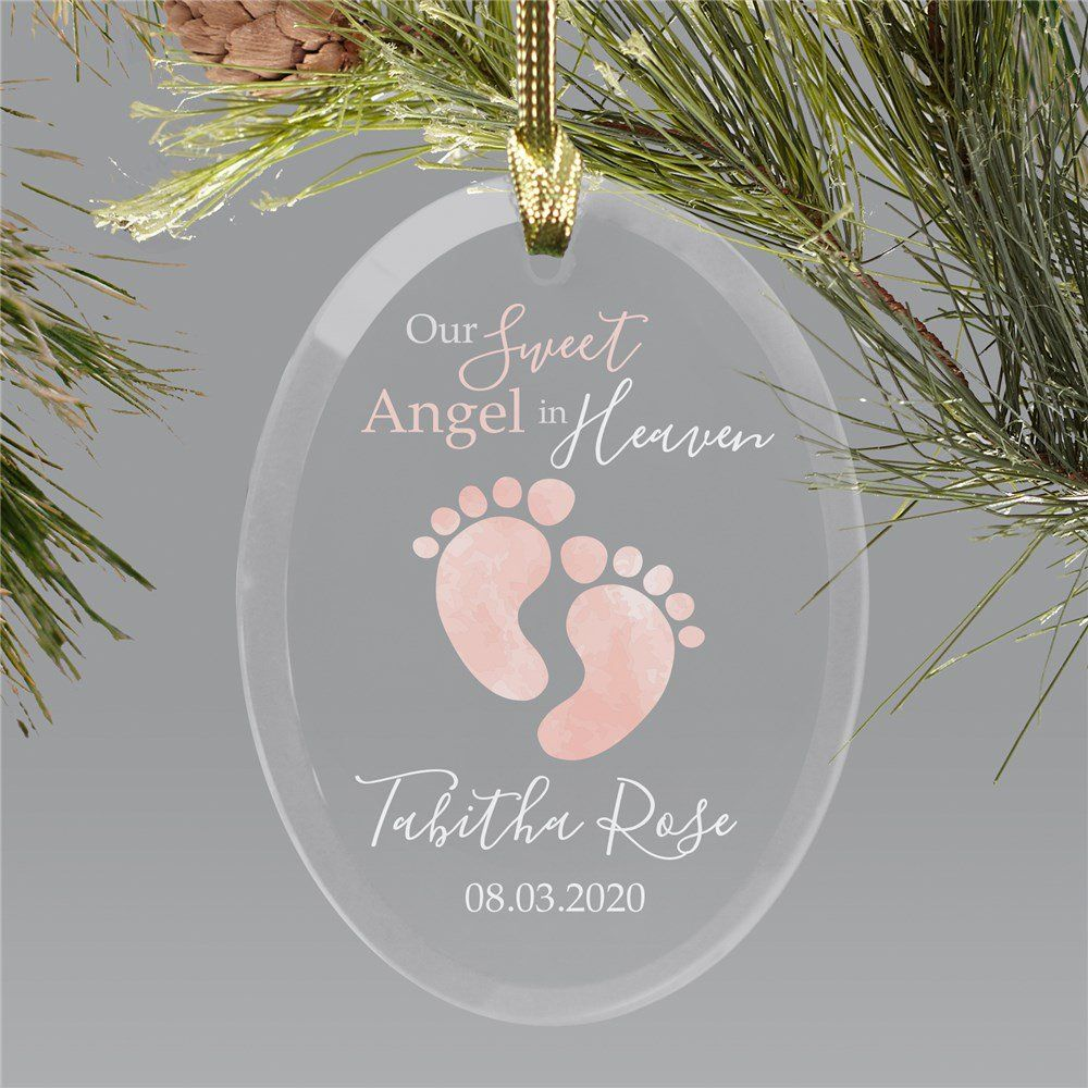 Personalized Our Sweet Angel In Heaven Footprints Oval Ornament Christmas In Heaven Ornament Baby Christmas Gifts Angel Baby Ornament