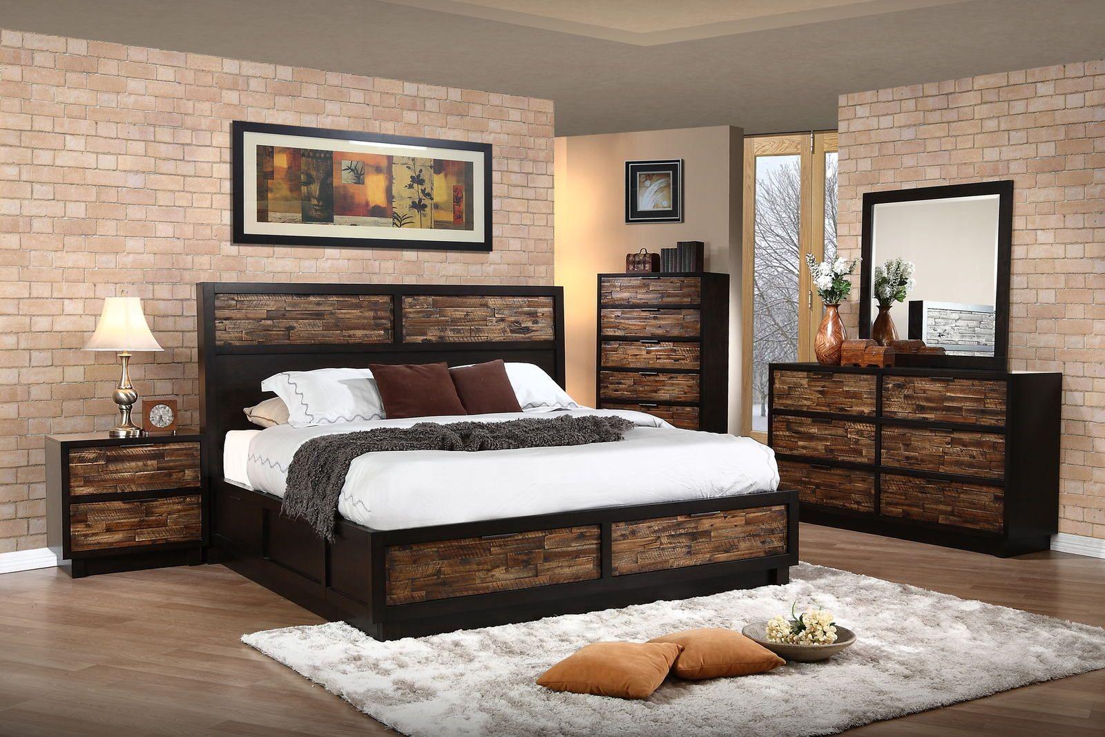 New classic makeeda piece storage bedroom set in rustic nc