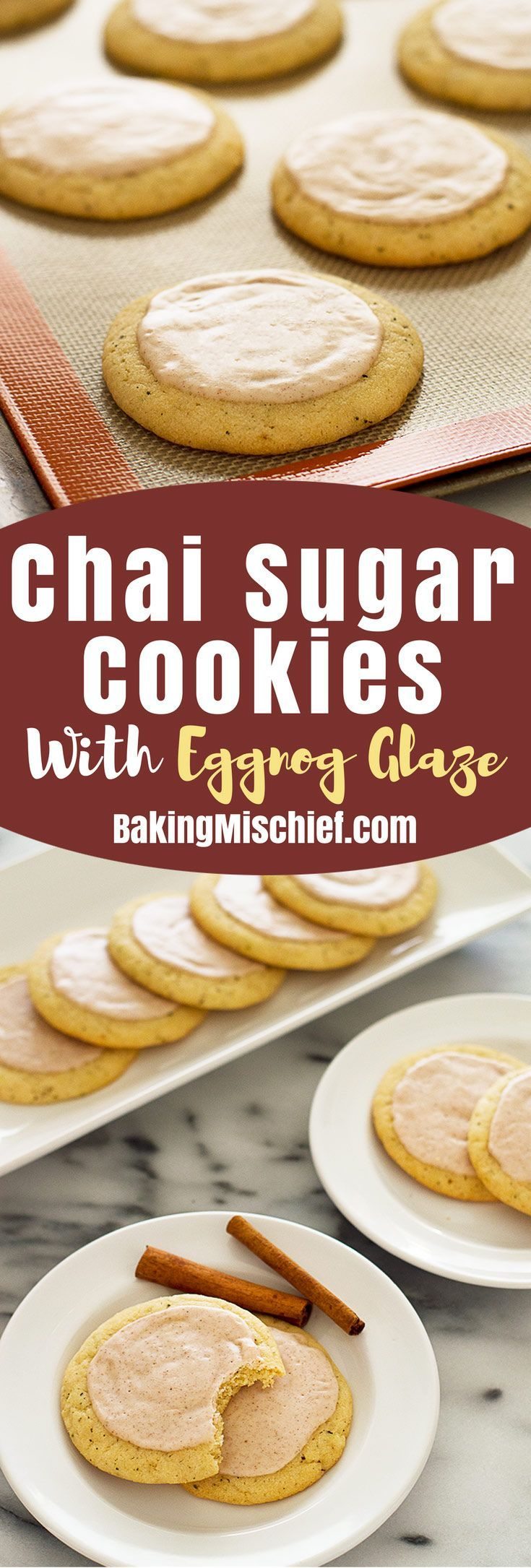 Chai sugar cookies with eggnog glaze might just be the perfect Christmas cookie. Recipe includes nutritional information. From http://BakingMischief.com