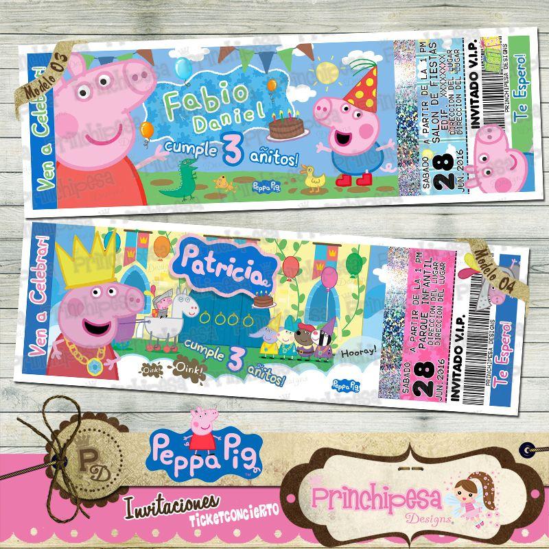 INVITACIONES TICKET CONCIERTO PEPPA PIG MODELOS 3 Y 4 Miden 5x15 cm ...