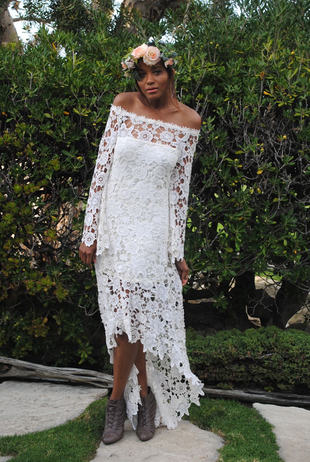 High low lace bohemian wedding dress off shoulder crochet lace