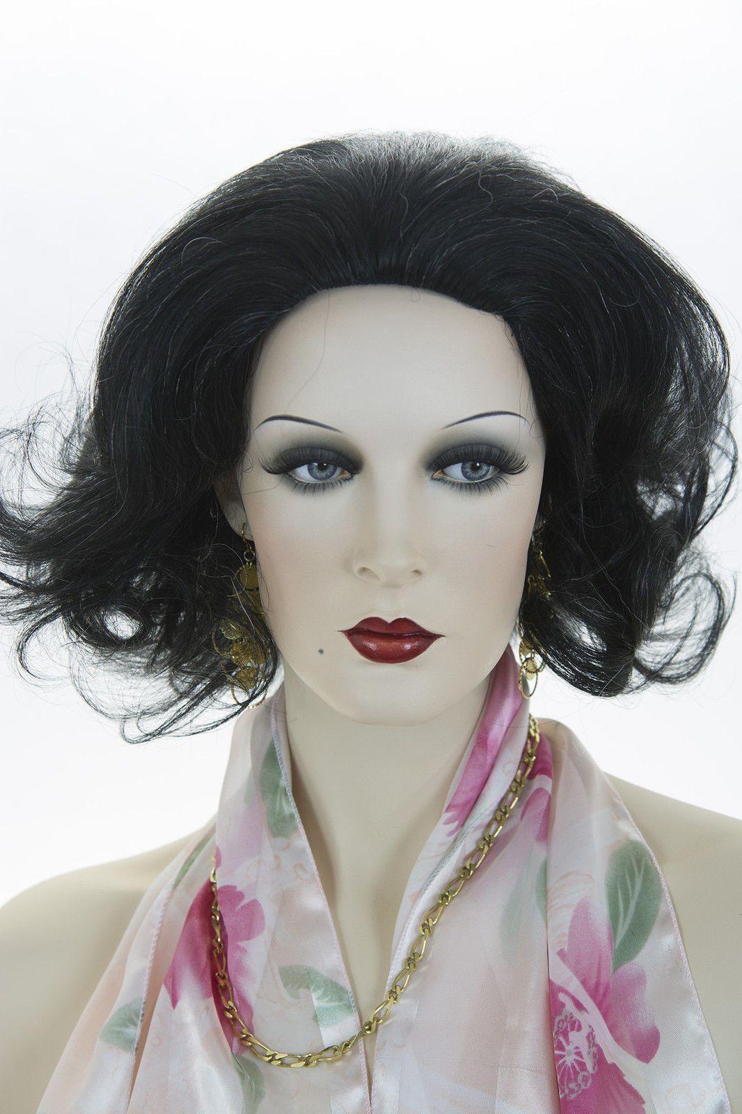 Black With 5% Grey Brunette Medium Human Hair  Skin Top Wavy Straight Wigs
