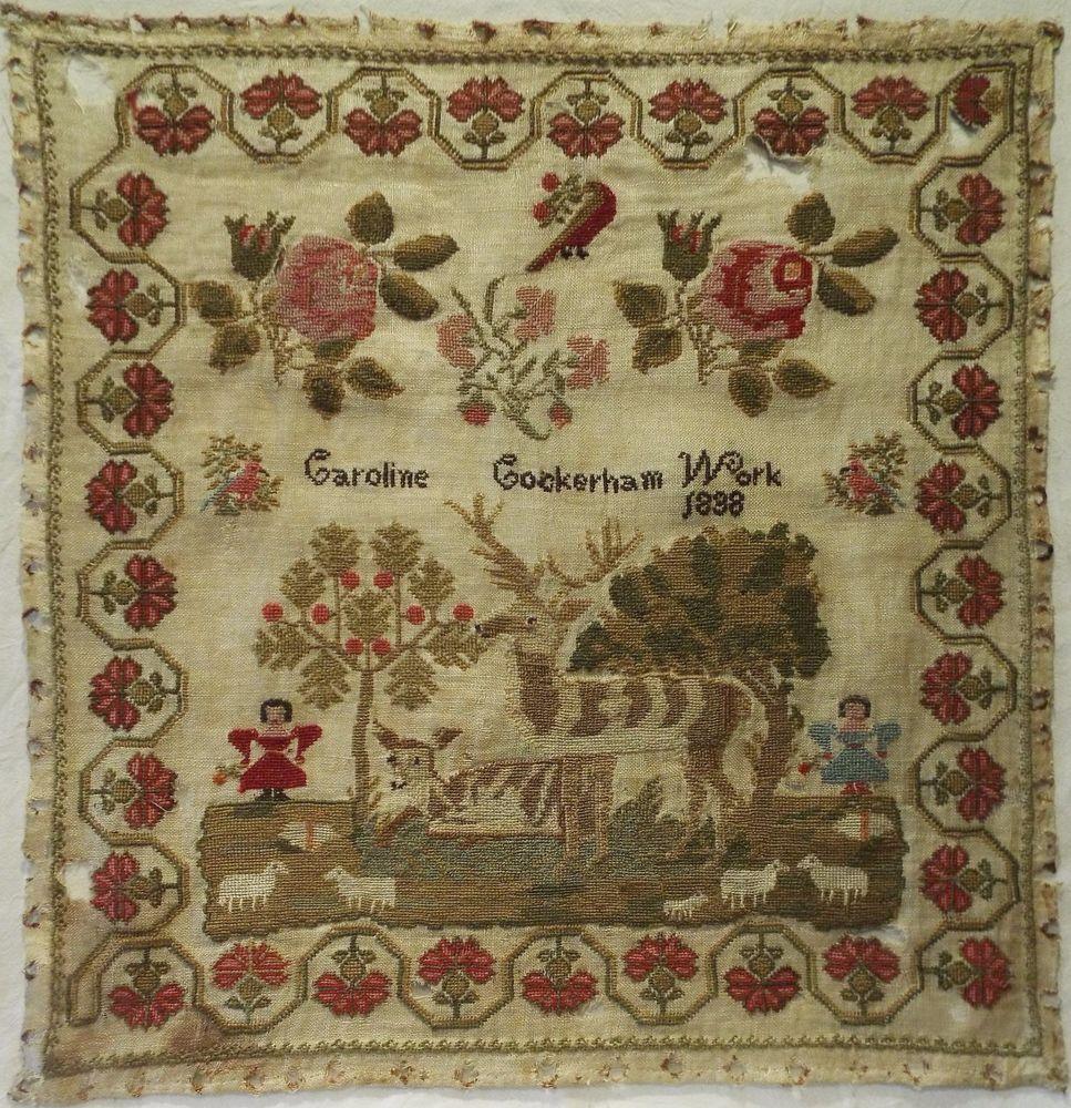 EARLY 19TH CENTURY STAG, FIGURE & FLOWER SAMPLER BY CAROLINE COCKERHAM 1838