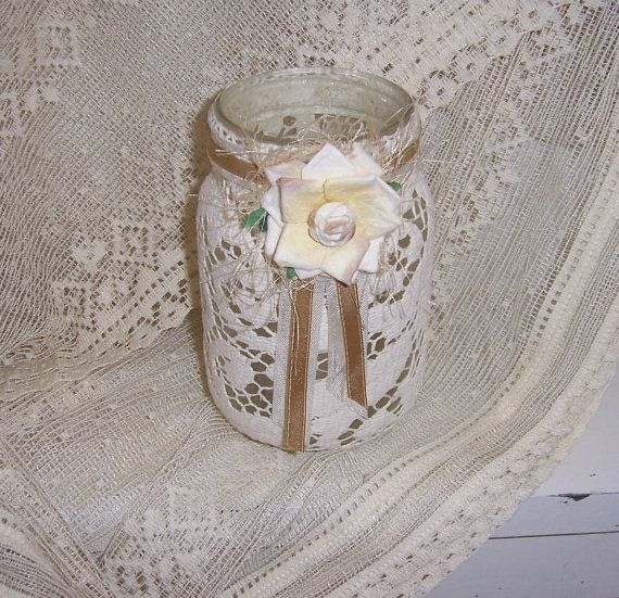 Mason jar french country shelf sitter flameless by twocooltexans