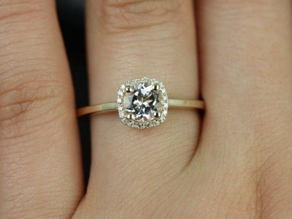 Rosados Box Bella Petite Yellow Gold Morganite And Diamonds Cushion Halo  Plain Band Engagement Ring