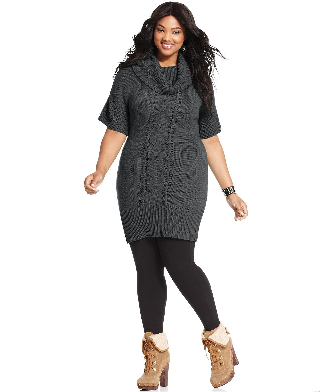 Pink Rose Plus Size Dress, Short-Sleeve Cable Sweater - Plus Size ...
