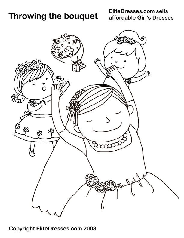Throwing the bouquet Wedding Coloring Page Preschool Projects - new free printable coloring pages/girls in dresses