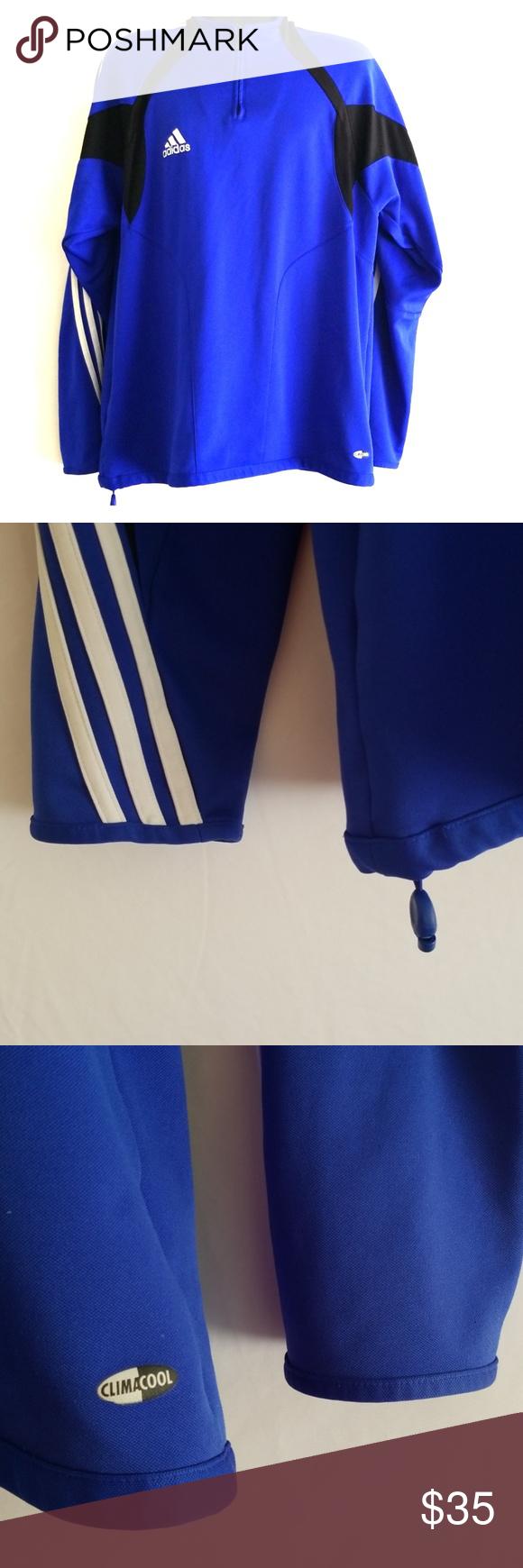 Adidas Mens XL Longsleeve Half Zip Climacool Shirt ☆Adidas Blue ...