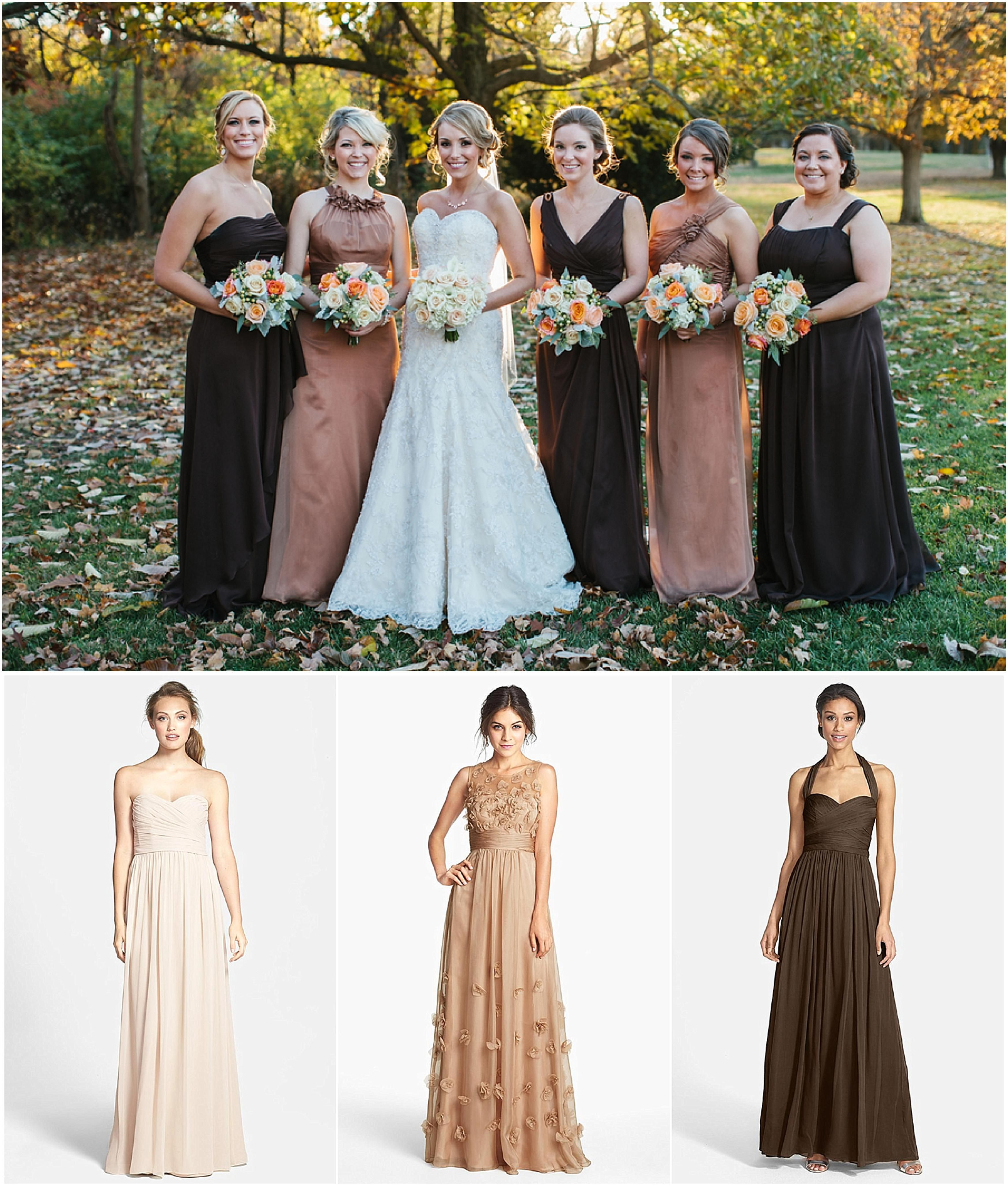 Gorgeous Mismatched Brown Bridesmaid Dresses This Is Great For A Fall Wedding Fall Bridesmaid Dresses Wedding Bridesmaid Dresses Brown Bridesmaid Dresses