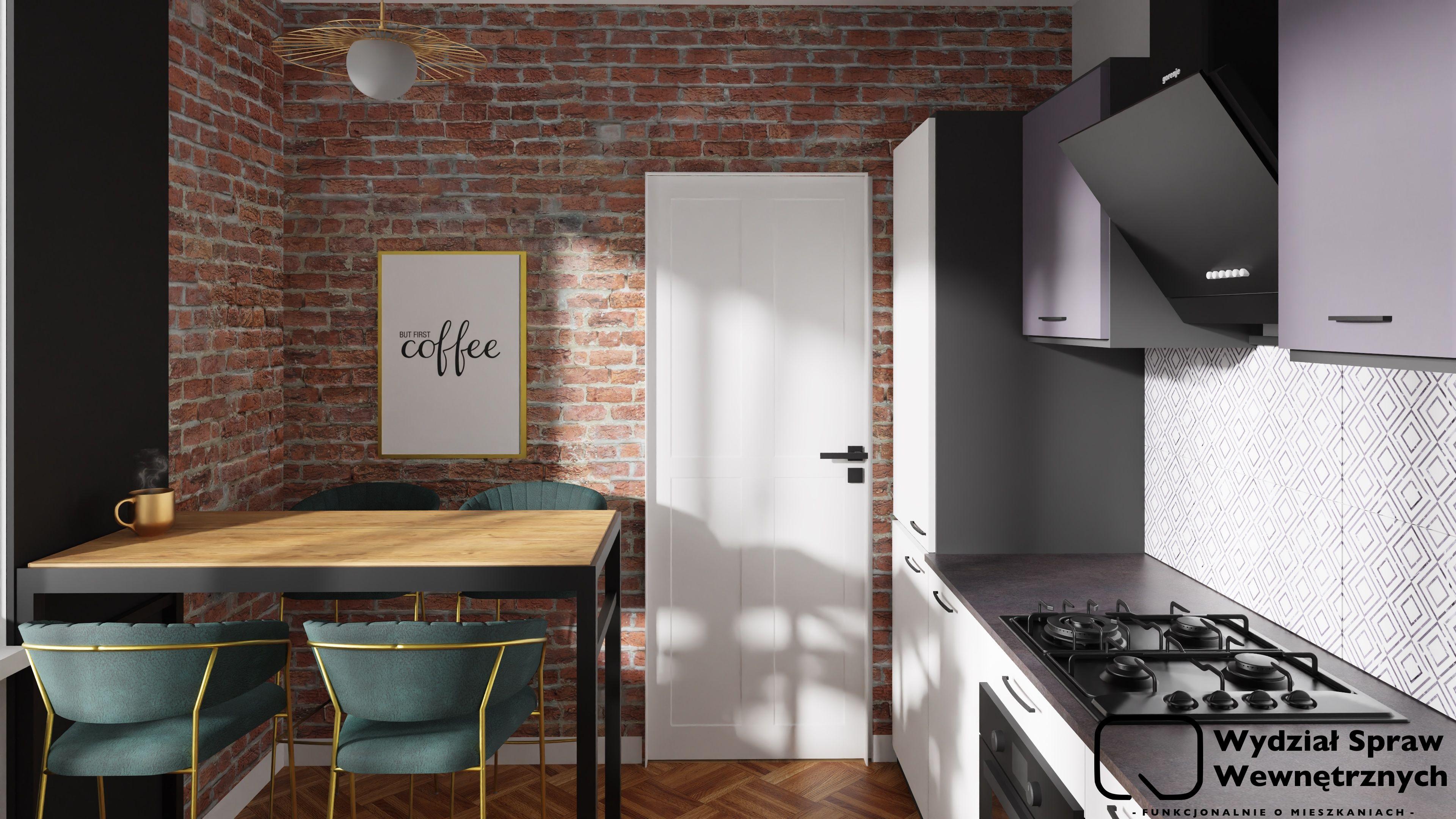 Bialo Grafitowa Kuchnia Kuchnia Prosta Kuchnia Z Cegla Kacik Sniadaniowy Home Decor Home Desk