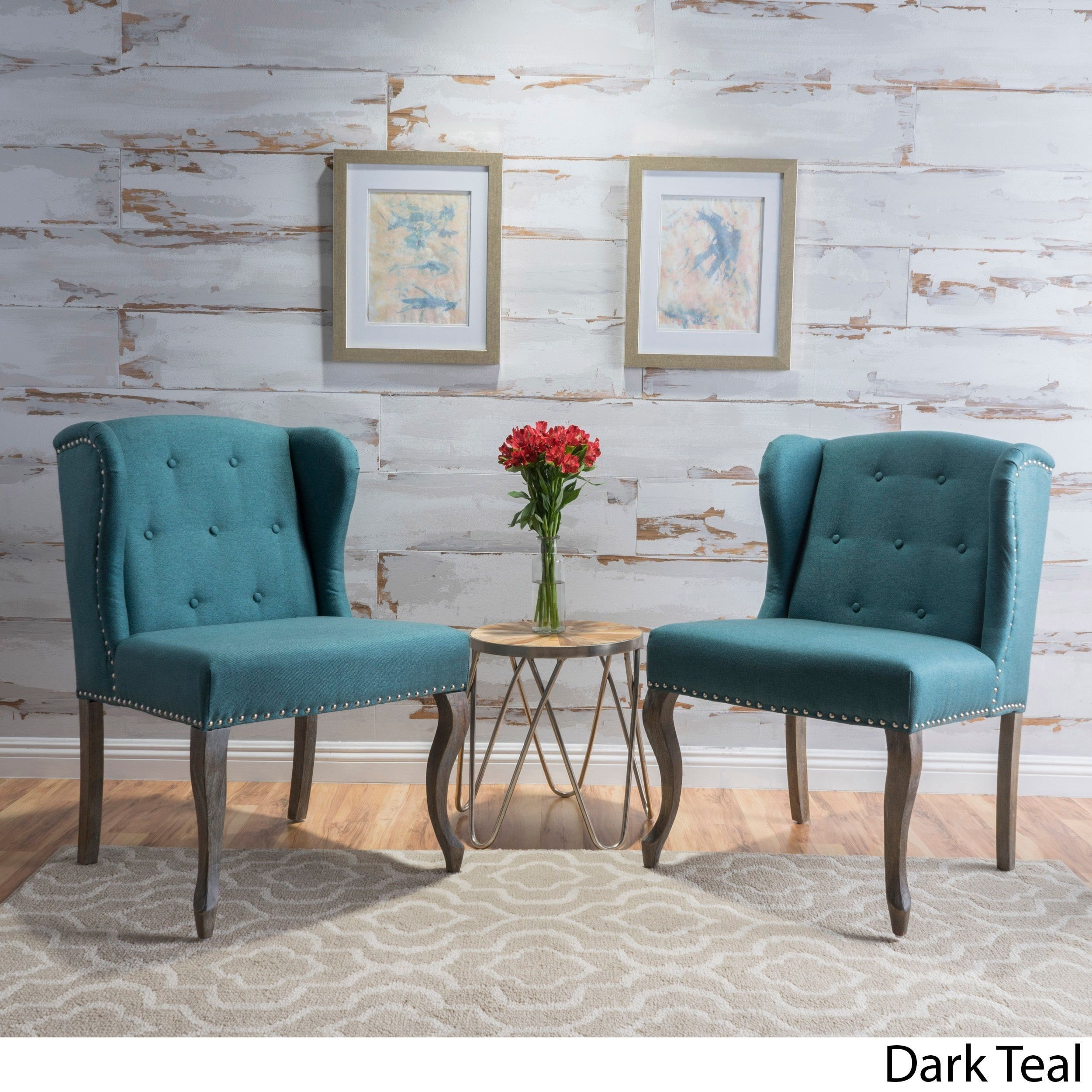 Niclas Wing Back Studded Fabric Accent Chairs Set Of 2 By