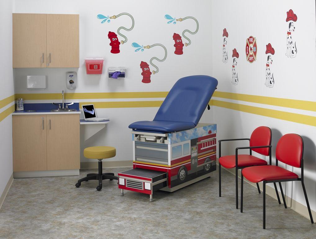 Beautiful Intensa 420FT Fire Truck Exam Bed, 951 Exam Stool, 200 Armless Chair, 201