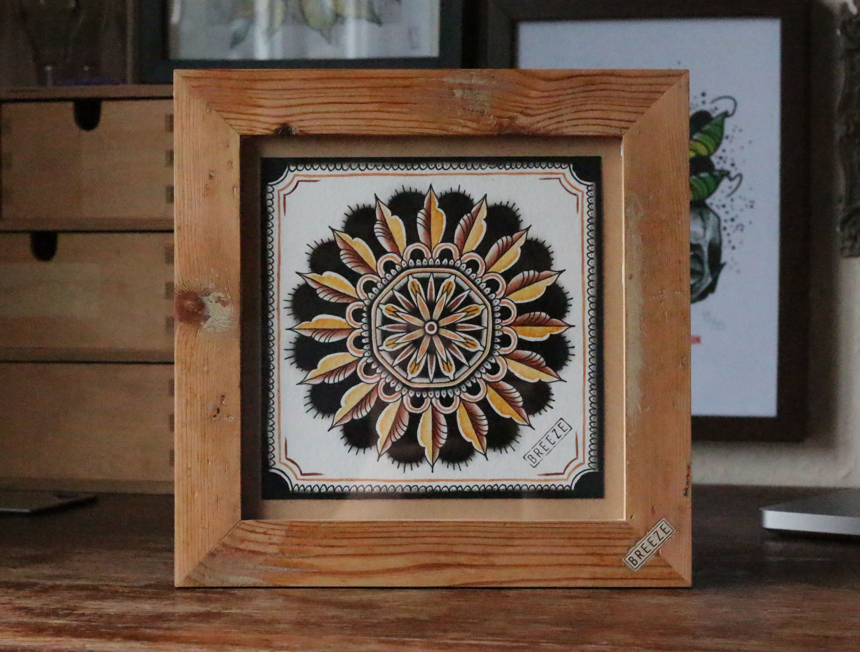 Mandala painting and Hand-made frame by Aaron Breeze | Aaron Breeze ...