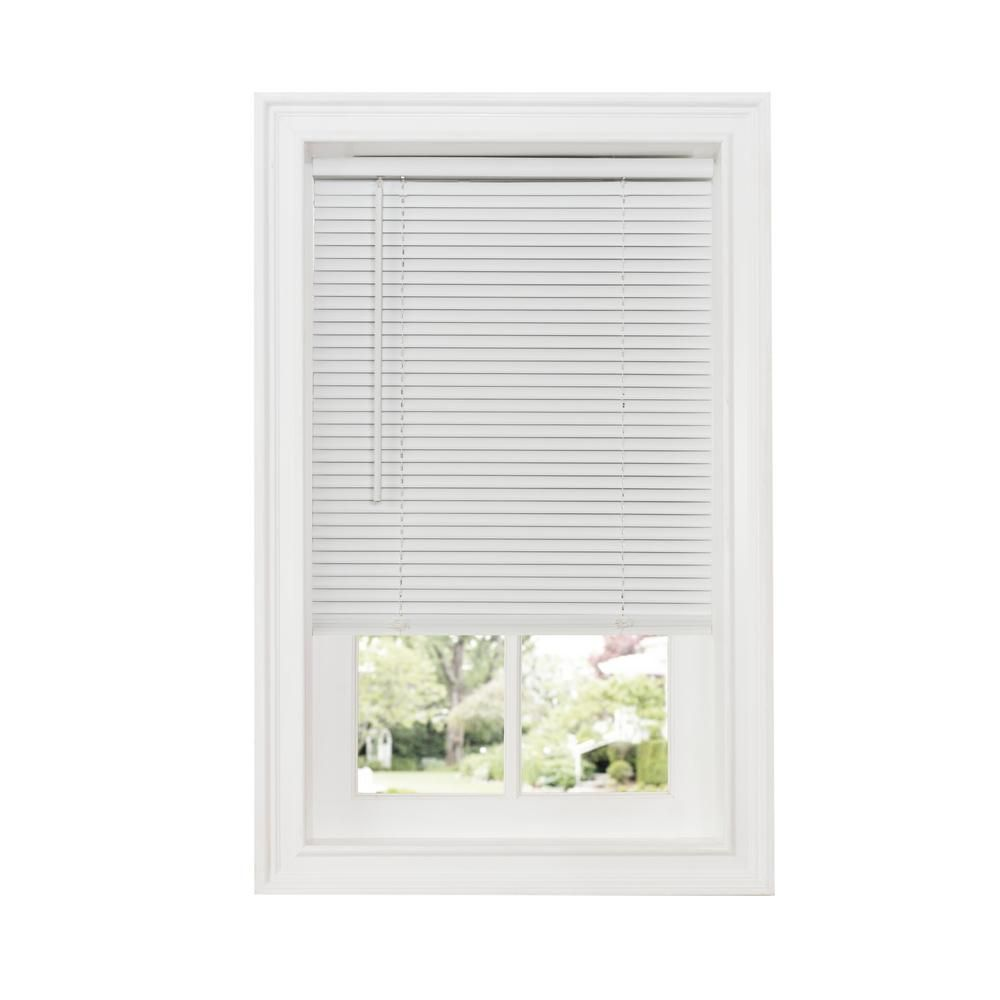 Achim 48 In W X 64 White Cordless 1 In Room Darkening Vinyl Blind Dsg248wh04 Room Darkening Blinds For Windows Horizontal Blinds