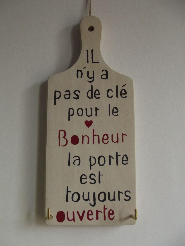 plaque en bois message accroche cl s d corations murales par ptitecrea d coration pour la. Black Bedroom Furniture Sets. Home Design Ideas