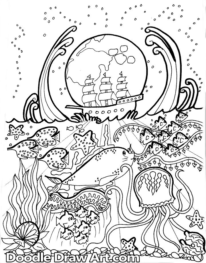 Coloring Page: Ocean Doodle | Coloring pages, Doodle ...