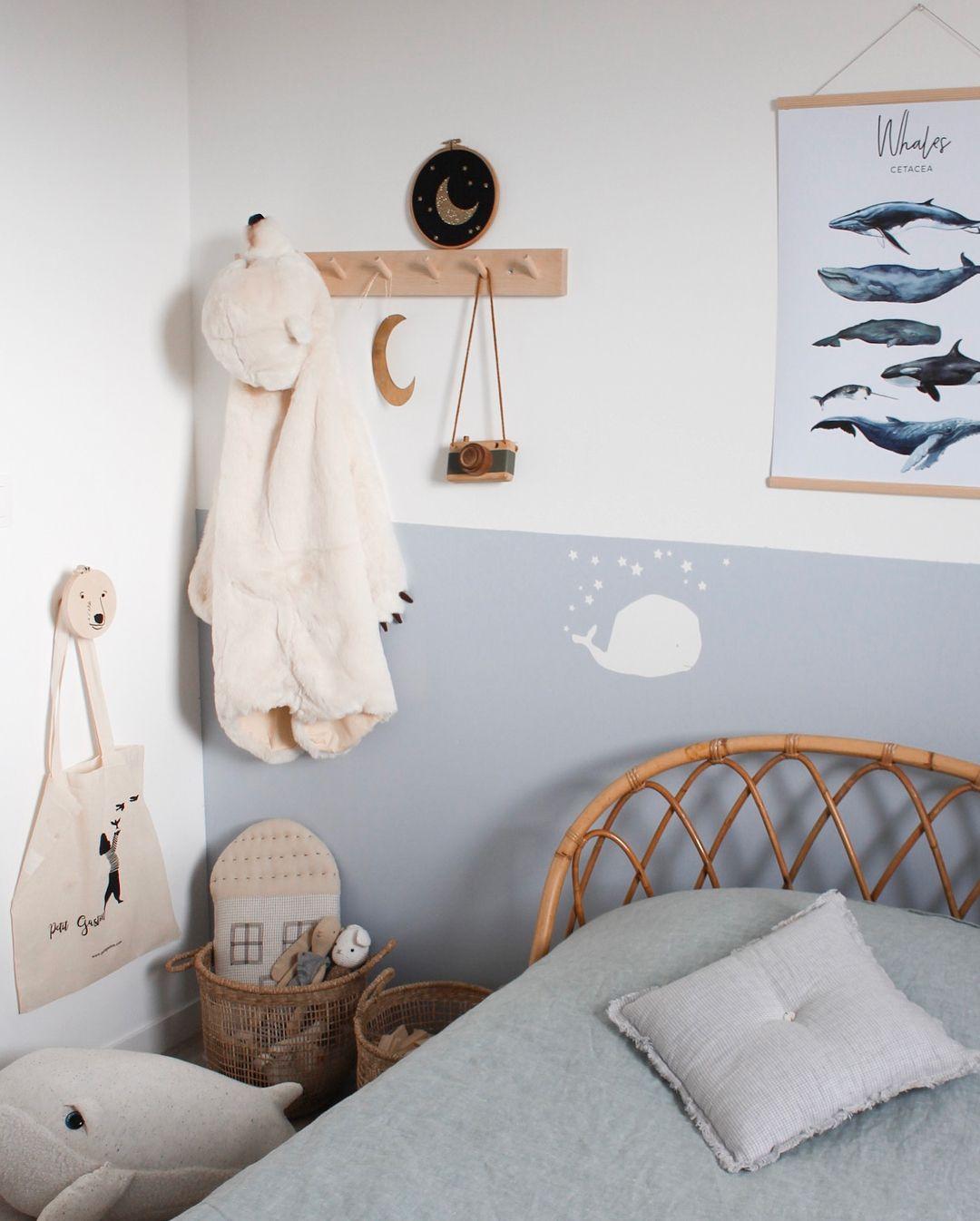 Chambre Enfant Theme Baleine Bleu Blanc Et Bois Peinture