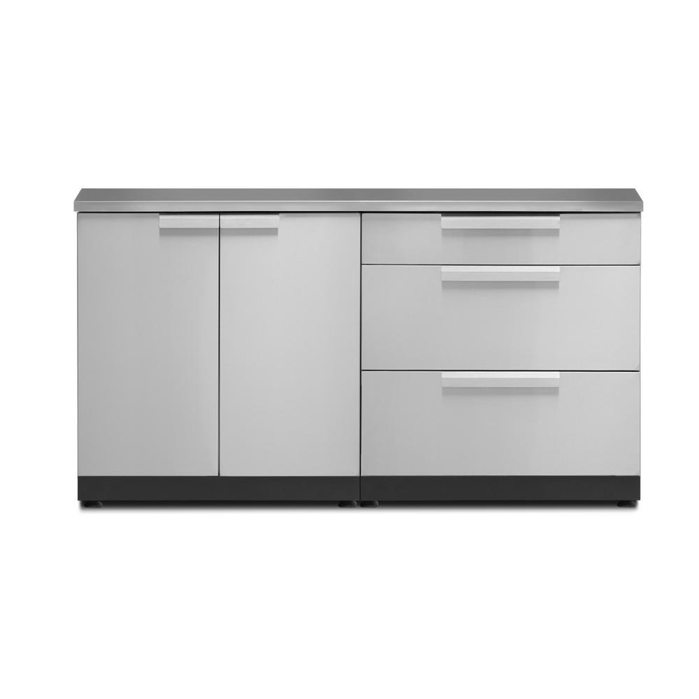 Newage Products Stainless Steel 3 Piece 64 In W X 36 5 In H X 24 In D Outdoor Kitchen Cabinet Set With Countertop And Covers 65105 The Home Depot Outdoor Kitchen Cabinets
