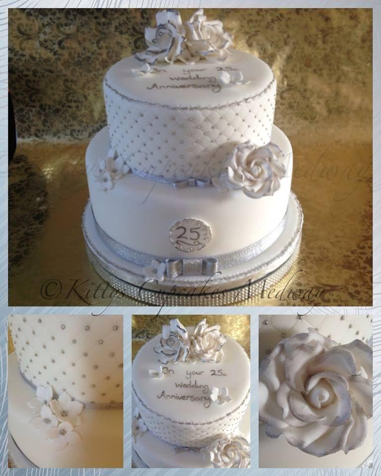 25th Wedding Anniversary Cake Ideas: A Fabulous Elegant Silver & White 25th Silver Wedding