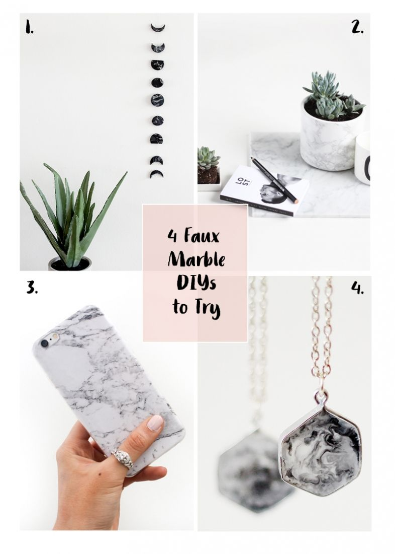 Looking to add a little marble to your projects but don't know how? Here are 4 Faux Marble DIYs to Try