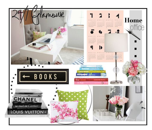 """""""Home Office/Library"""" by meganmeganmegant ❤ liked on Polyvore featuring interior, interiors, interior design, home, home decor, interior decorating, Belle Vie, Ethan Allen, OBEY Clothing and SNUG"""
