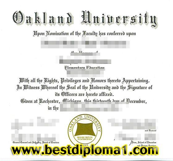 Oakland University degree sample, Buy Oakland University certificate