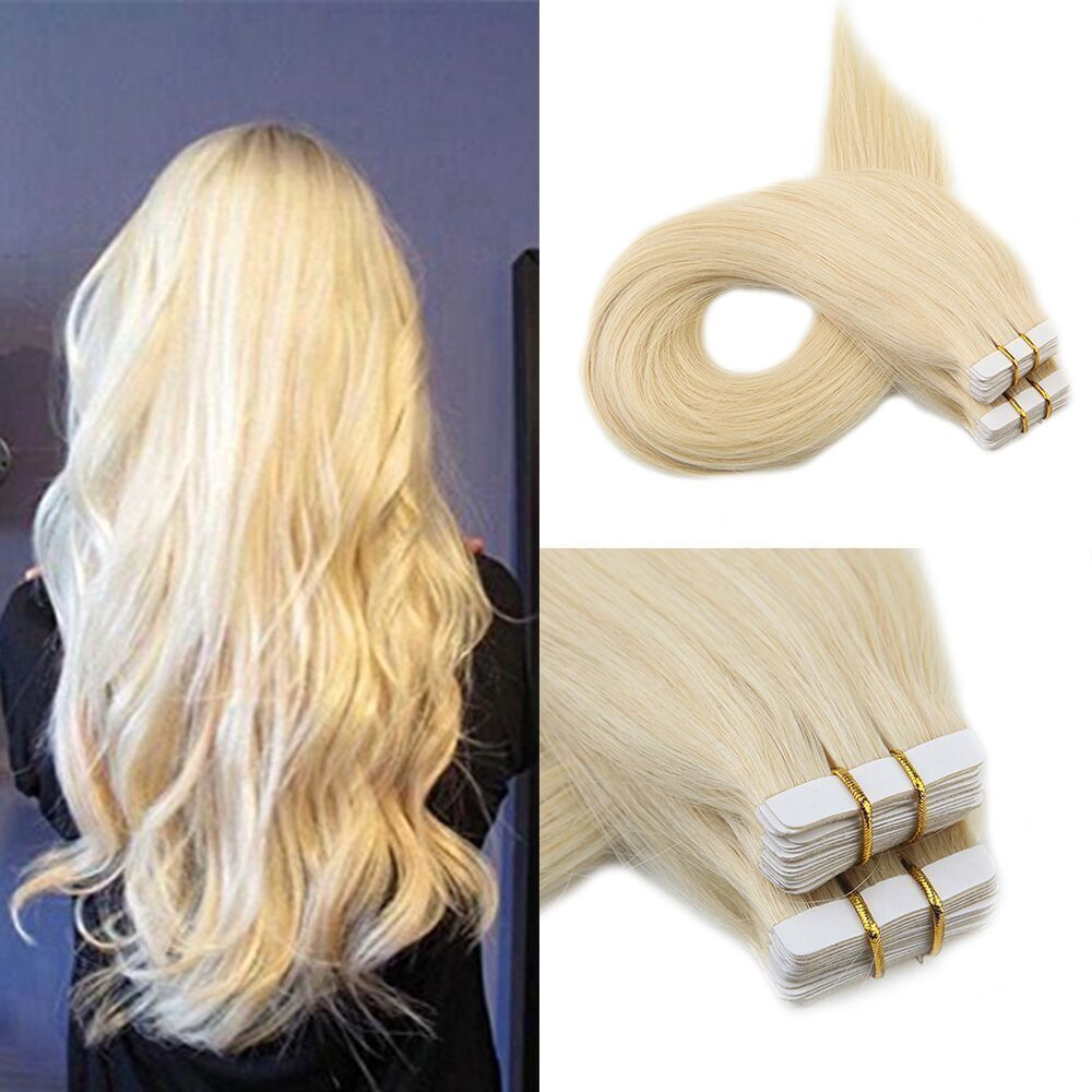 Color 613 Blonde Double Drawn PU Tape in 100 Human Hair