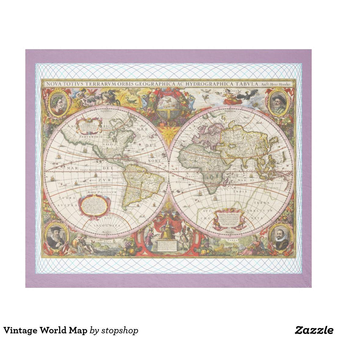 Vintage world map fleece blanket blanket vintage world map gumiabroncs Image collections