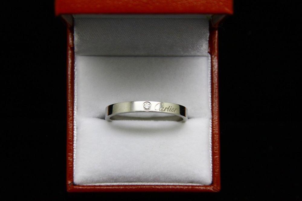 7a908c504d2fc C de CARTIER Wedding Band, Platinum Ring with 0.03 carat Diamond, size 12  1/4 #Cartier #Band #Wedding
