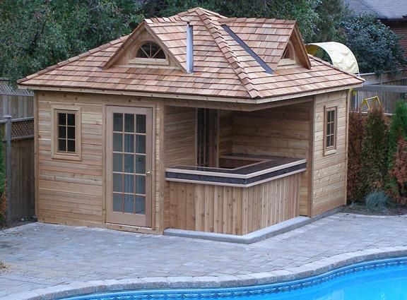 13 by 13 tiki bar cabana or tiny house 2 pool cabanas as for Garden cabana designs