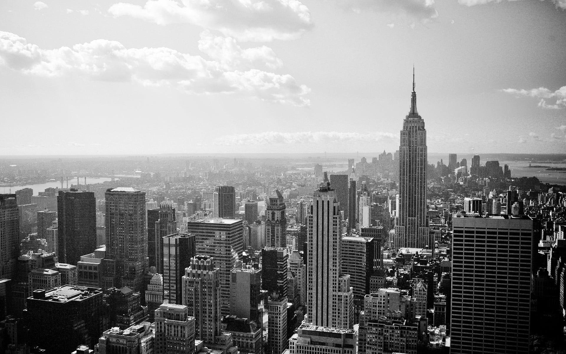 Empire State New York Building Cityscape City New York City Empire State Building Landscape Wallpaper Black And White Landscape Black And White Wallpaper