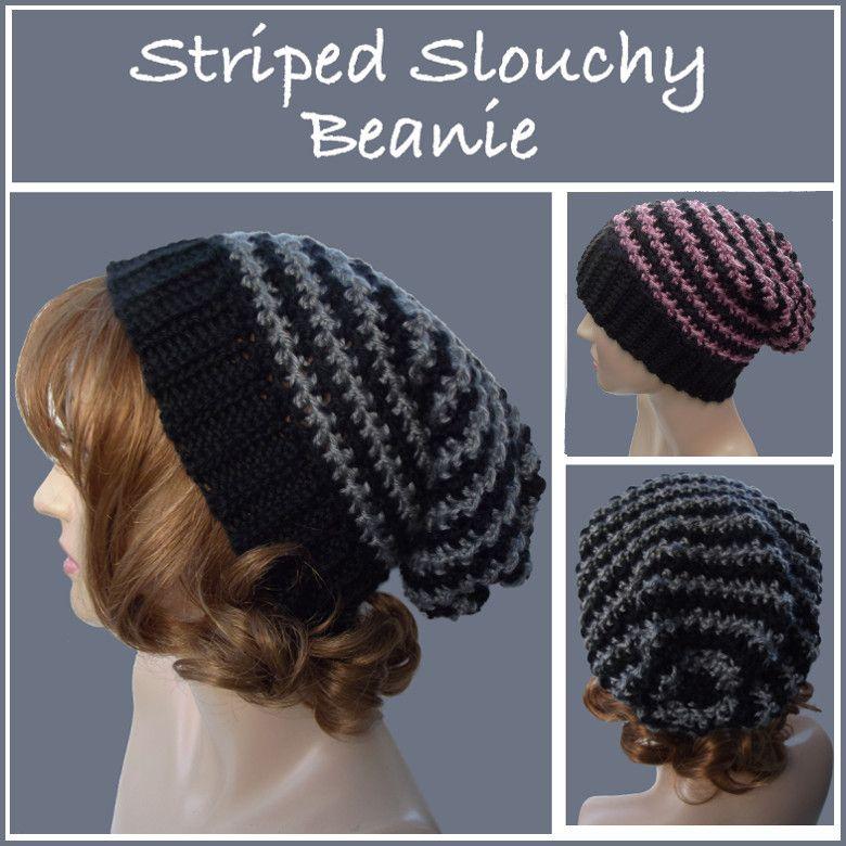 Striped Slouchy Beanie Free Crochet Pattern Free Crochet
