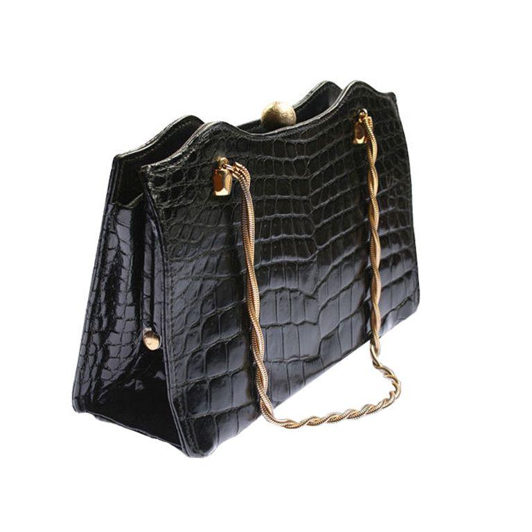 f08f23d18a French Saks Fifth Avenue Crocodile Handbag