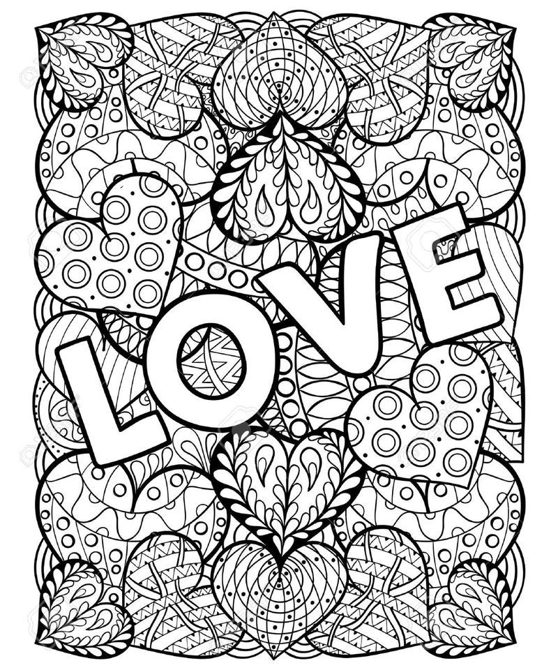 Detailed Love And Hearts Coloring Page For Adults Love Coloring Pages Heart Coloring Pages Valentines Day Coloring Page