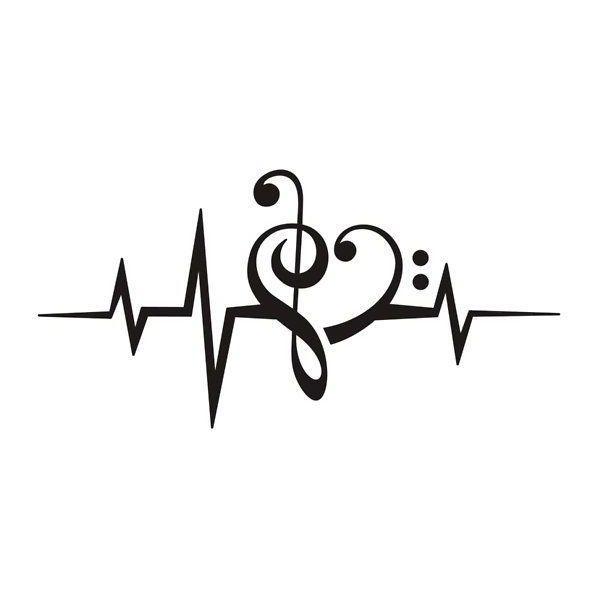 Music Heart Pulse Love Music Bass Clef Treble Clef Classic Liked On Polyvore F Tatuagens De Musica Desenhos De Tatuagem De Musica Tatuagens De Danca