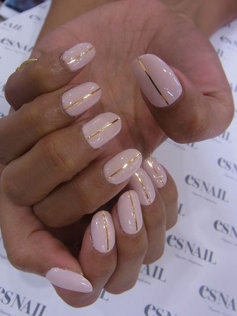 Nails With One Gold Strip On Pink Background Repinned By Acb