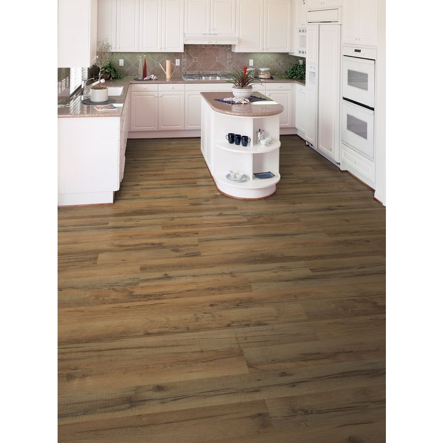 Style Selections 7 6 In W X 4 23 Ft L Tavern Oak Embossed Laminate Wood Planks At Lowes