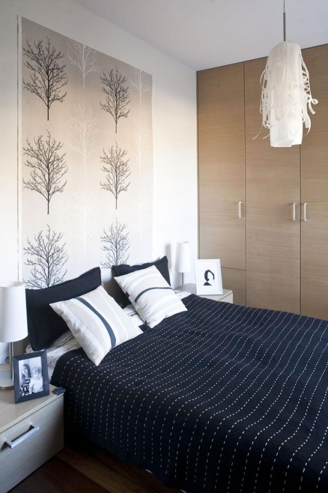 farbgestaltung-schlafzimmer-ideen-beige-dunkelblau, Schlafzimmer design